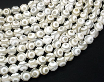Tibetan Agate Beads, White, Faceted Round, 8 mm, 15.5 Inch, Full strand, Approx 48 brads, Hole 1mm (122025233)
