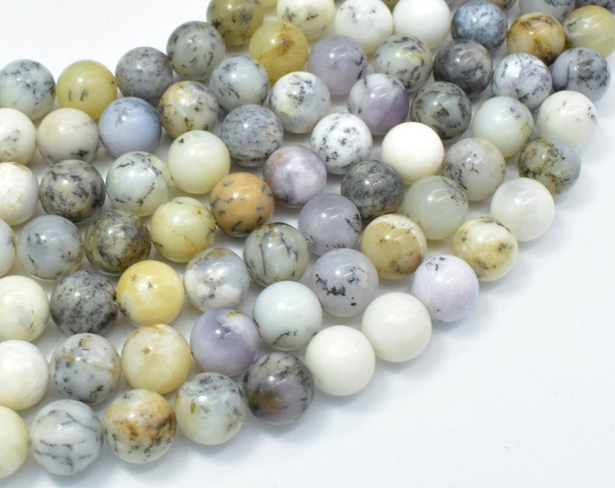 Dendritic Opal, Moss Opal, 10mm (10.5mm) Round Beads, 15.5 Inch, Full strand, Approx 38 beads, Hole 1mm, A quality (441054009)