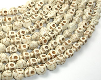 White Howlite Beads, 8x10mm Skull Beads, 15.5 Inch, Full strand, Approx 40 beads, Hole 1mm (275077009)