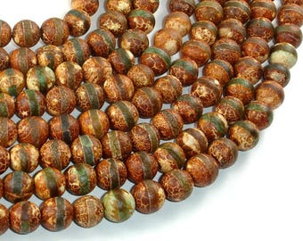 Crackle Tibetan Agate, 10mm Round Beads, 14.5 Inch, Full strand, Approx 38 beads, Hole 1.2mm (122054277)