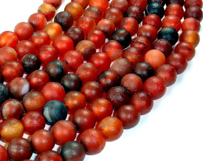 Frosted Matte Agate Beads, Round, 10 mm, 14 Inch, Full strand, Approx 38 beads, Hole 1.5 mm (122054112)