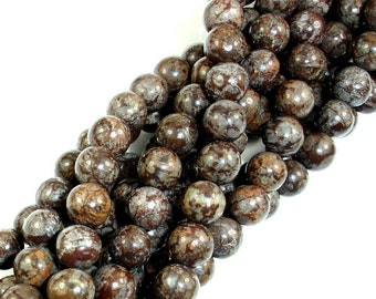 Brown Snowflake Obsidian Beads, Round, 6mm (6.5 mm), 15.5 Inch, Full strand, Approx 64 beads, Hole 1mm (193054003)