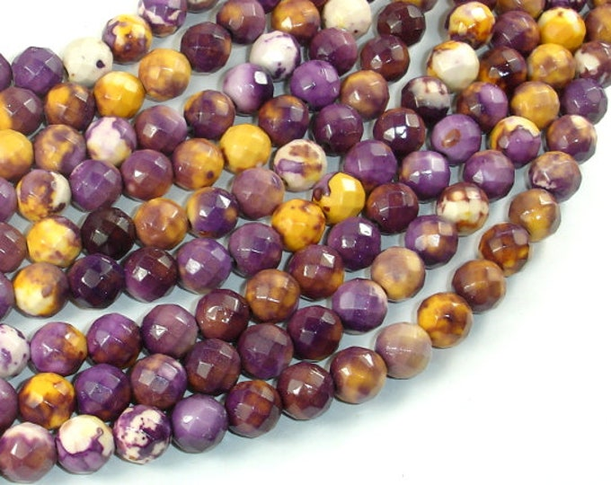 Rain Flower Stone Beads, Purple, Yellow, 8mm (8.3mm) Faceted Round Beads, 15.5 Inch, Full strand, Approx 48 beads, Hole 1mm (377025002)