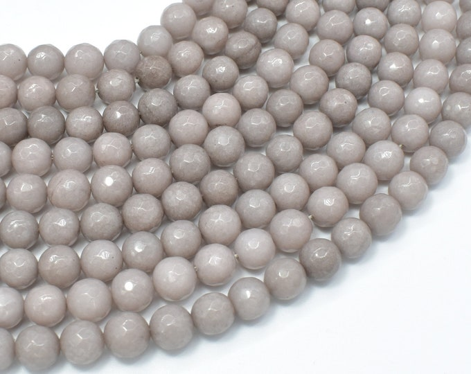 Jade Beads, Light Gray, 8mm Faceted Round, 15 Inch, Full strand, Approx 47 beads, Hole 1mm, A quality (211025028)