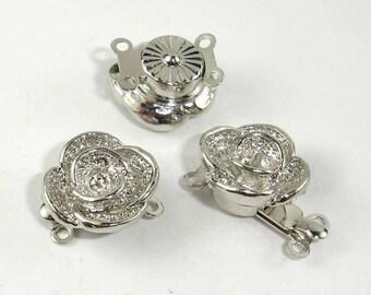 Flower Box Clasps- 2 strand , Rhodium Plated, 12mm, 4pcs (006854013)