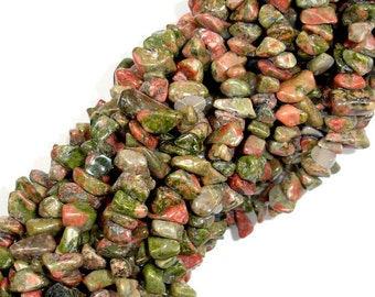Unakite, 4-10mm Chips Beads, 35 Inch, Long full strand, Hole 0.6 mm (429005001)