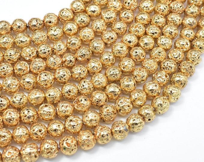 Lava-Gold Plated, 8mm (8.5mm) Round Beads, 15 Inch, Full strand, Approx 47 beads, Hole 1mm (300054059)