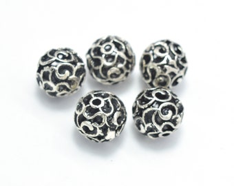 4pcs 925 Sterling Silver Beads-Antique Silver, 7.8mm Round Beads, Spacer Beads,Hole 1mm (007903015)