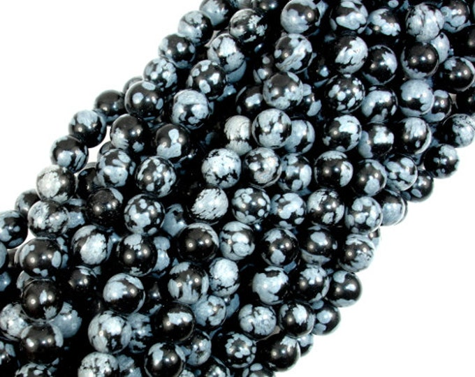 Snowflake Obsidian Beads, Round, 6mm (6.5 mm), 15.5 Inch, Full strand, Approx 62 beads, Hole 1 mm, A quality (410054002)