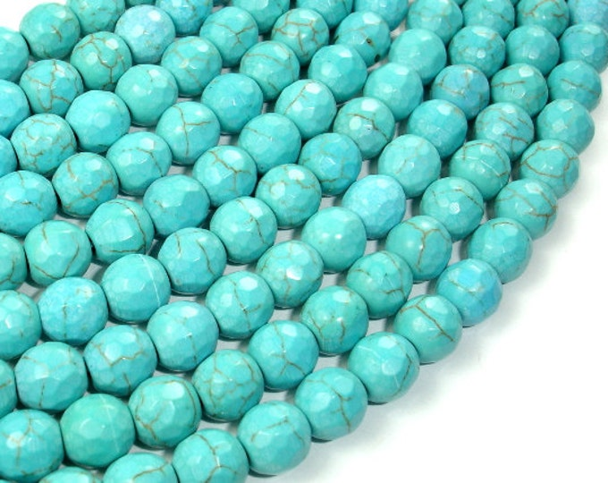 Turquoise Howlite, 8mm (7.5mm) Faceted Round Beads, 15 Inch, Full strand, Approx 50 beads, Hole 1mm (213025002)