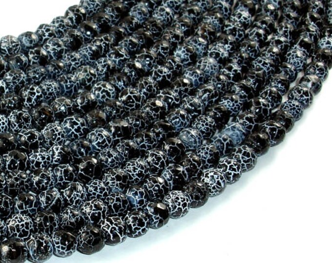 Black Crackle Agate, 6mm Faceted Round Beads, 13 Inch, Full strand, Approx 63 beads, Hole 1mm (122025294)