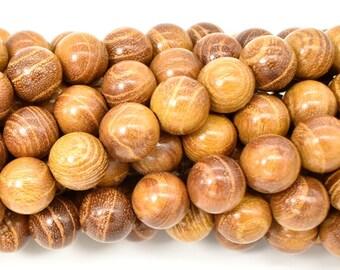 Yellow Wood Beads, Nangka Wood Beads, 10mm (10.3mm) Round Beads, 43 Inch, Full strand, Approx 108 Beads, Mala Beads (011741003)