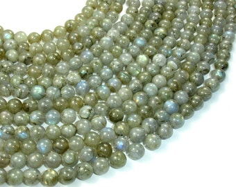 Labradorite Beads, Round, 8mm (8.5 mm), 15.5 Inch, Full strand, Approx 47 beads, Hole 1 mm (295054001)