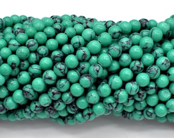 Howlite Turquoise Beads-Green, 4.5mm-5mm Round Beads, 15.5 Inch, Full strand, Approx 84-92 beads, Hole 0.8mm, A quality (214054010)