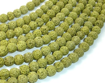 Peridot color Lava Beads, 8mm, 15.5 Inch, Full strand, Approx 48 beads, Hole 1 mm (300054035)