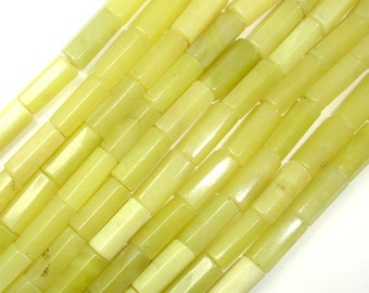 Olive Jade Beads, 6x14mm Hexagon Tube Beads, 15.5 Inch, Full strand, Approx 28 beads, Hole 1mm (332065001)