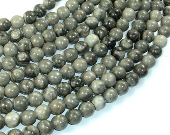 Black Fossil Jasper Beads, 8mm(8.3mm) Round Beads, 15.5 Inch, Full strand, Approx 48 beads, Hole 1mm, A quality (220054009)