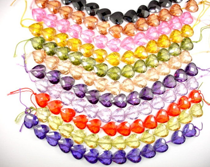 Cubic Zirconia Beads, CZ bead, 12 x 12 mm Faceted Heart Beads, 6 Inch, 1 strand, 13 beads, Hole 0.8 mm, A quality (HS1212)