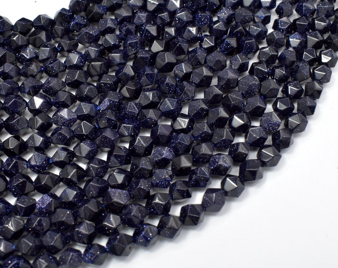Blue Goldstone Beads, 6mm (5.5mm) Star Cut Faceted Round Beads, 13.5 Inch, Full strand, Approx 62 beads, Hole 1mm, A quality (164186002)