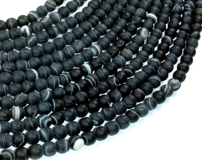 Matte Banded Agate Beads, 6mm Round Beads, 15 Inch, Full strand, Approx 65 beads, Hole 1mm, A quality (132054017)
