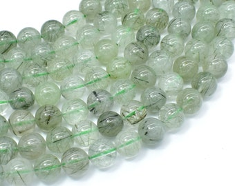 Green Rutilated Quartz Beads, 10mm Round Beads, 16 Inch, Full strand, Approx 41 beads, Hole 1mm (396054022)