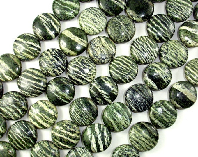 Green Zebra Jasper Beads, 15mm Coin Beads, 16 Inch, Full strand, Approx 27 beads, Hole 1 mm, A quality (268008002)
