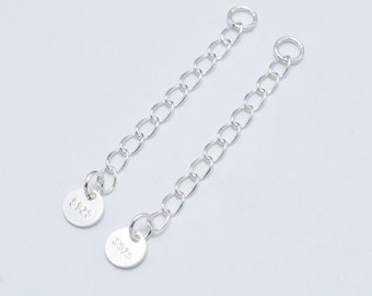 4pcs 925 Sterling Silver Extension Chain, 30mm Long, 2.5mm Width, with 5mm Stamped 925 Tag (007906006)