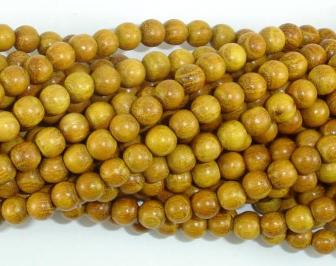 Yellow Wood Beads, Nangka Wood Beads, 6mm(5.8mm) Round Beads, 23 Inch, Full strand, Approx 108 Beads, Mala Beads (011741001)