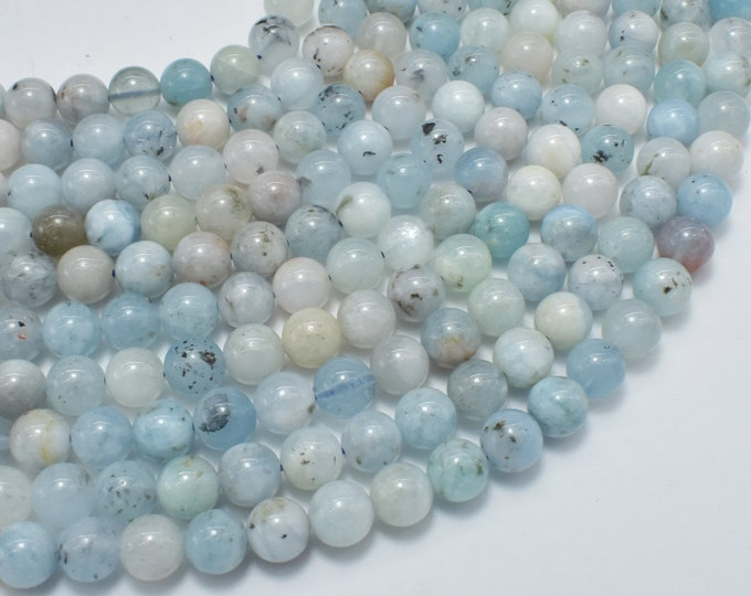 Aquamarine Beads, 6mm Round Beads, 15.5 Inch, Full strand, Approx 62-65 beads, Hole 0.8mm (123054022)