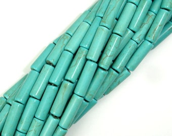 Turquoise Howlite, 4 x 13mm Tube Beads, 15.5 Inch, Full strand, Approx 30 beads, Hole 1 mm, A quality (213065003)