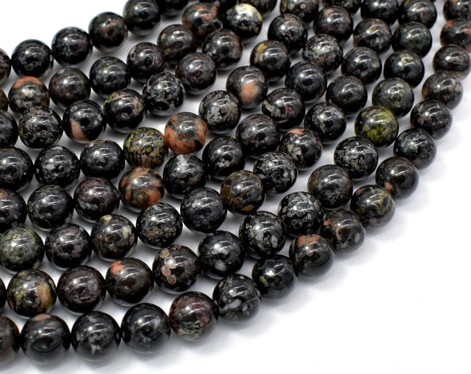Flower Obsidian Beads, 8mm (8.3mm) Round Beads, 15.5 Inch, Full strand, Approx 49 beads, Hole 1mm, A quality (247054001)