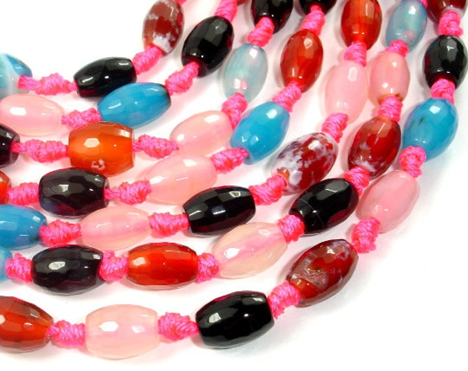 Agate Beads, Approx 8mm x 12mm Faceted Rice Beads, 14.5 Inch, Full strand, Approx 24 beads, Hole 2 mm (122023013)
