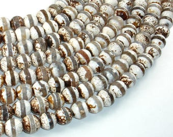Tibetan Agate Beads, Brown, 10mm Faceted Round Beads, 14 Inch, Full strand, Approx 37 brads, Hole 1.2mm (122025293)