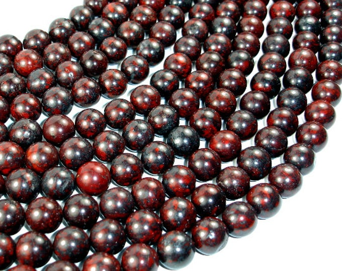 Brecciated Jasper, Round beads, 12 mm, 15.5 Inch, Full strand, Approx 33 beads, Hole 1.2 mm (334054001)