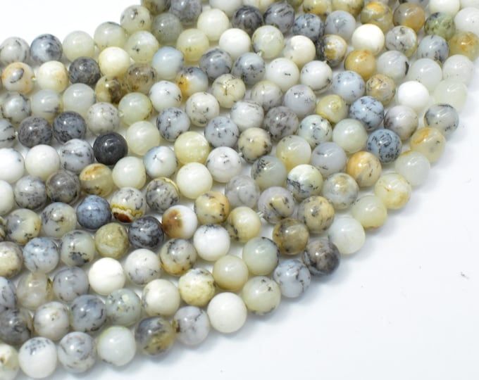Dendritic Opal Beads, Moss Opal, 6mm (6.3mm) Round Beads, 15.5 Inch, Full strand, Approx 65 beads, Hole 1mm, A quality (441054008)