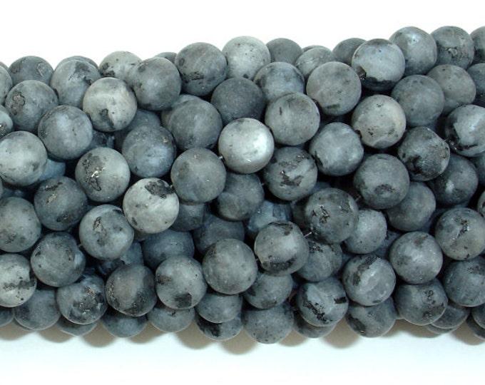 Matte Black Labradorite Beads, Matte Larvikite, 6mm (6.5 mm) Round Beads, 15 Inch, Full strand, Approx 61 beads, Hole 1 mm (137054008)