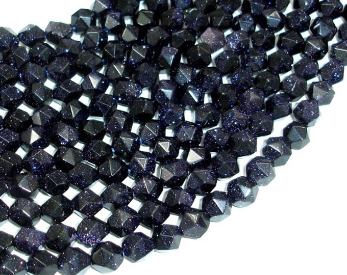 Blue Goldstone Beads, 8mm (7.5mm) Star Cut Faceted Round Beads, 14.5 Inch, Full strand, Approx 47 beads, Hole 1mm, A quality (164186001)
