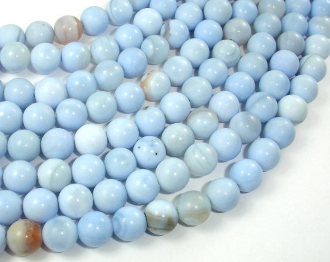 Light Blue Agate Beads, 8mm Round Beads, 15 Inch, Full strand, Approx 47 beads, Hole 1 mm (122054114)