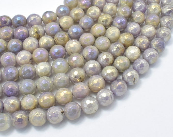 Mystic Coated Lavender Amethyst, 8mm Faceted Round Beads, AB Coated, 15 Inch, Full strand, Approx 46 beads, Hole 1mm (115025011)