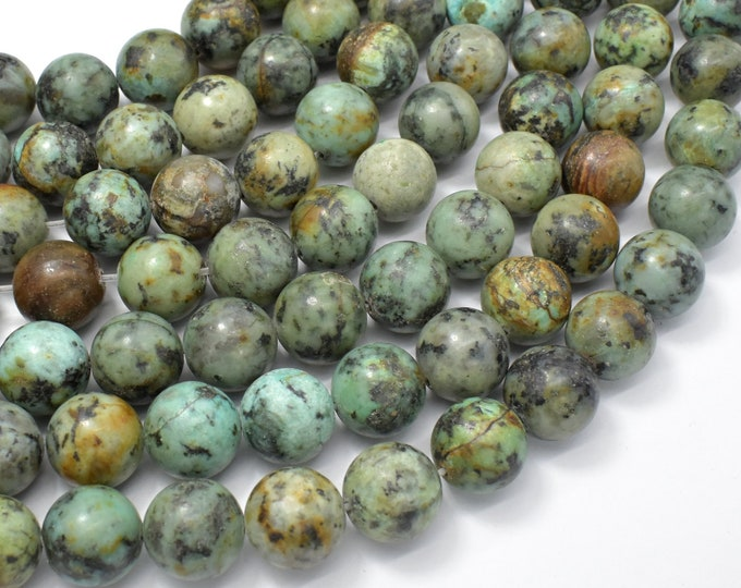 African Turquoise, 12mm Round Beads, 15.5 Inch, Full strand, Approx 32 beads, Hole 1 mm (110054006)