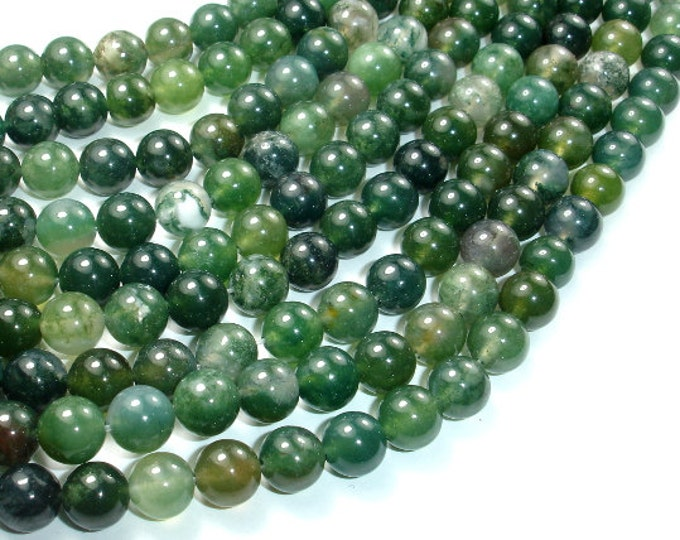 Moss Agate Beads, 8mm (8.5 mm) Round Beads, 15.5 Inch, Full strand, Approx 47 beads, Hole 1 mm, A quality  (323054003)