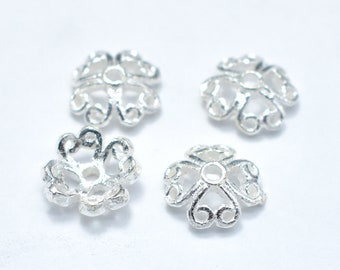10pcs 7.5mm 925 Sterling Silver Bead Caps, 7.5x2.5mm Flower Bead Caps, Jewelry Findings, Hole 1mm (007902002)