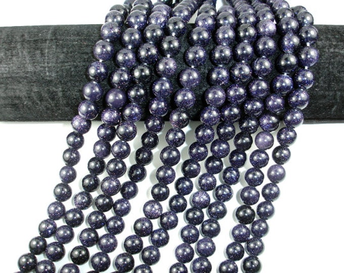 Blue Goldstone Round Beads, 10mm, 15.5 Inch, Full strand, Approx 38 beads, Hole 1 mm, A quality (164054004)