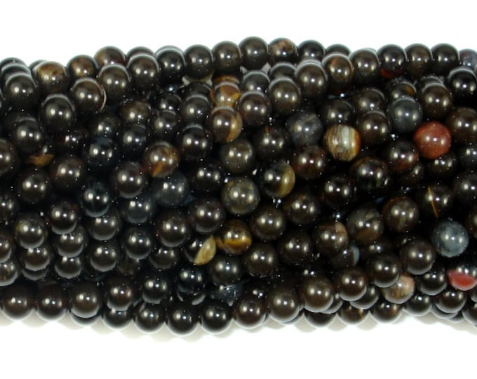 Petrified Wood Jasper, 4mm (4.5 mm) Round Beads, 16 Inch, Full strand, Approx 92 beads, Hole 0.5 mm, A quality (355054003)