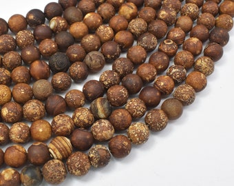 Crackle Tibetan Agate, 8mm(7.8mm) Round Beads, 14.5 Inch, Full strand, Approx 49 beads, Hole 1.5mm (122054235)