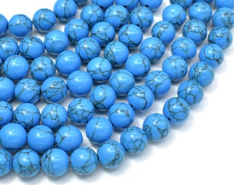 Howlite Turquoise Beads, Blue, 10mm Round Beads, 15 Inch, Full strand, Approx 40 beads, Hole 1.2mm (213054022)