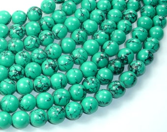 Howlite Turquoise Beads-Green, 10mm Round Beads, 15.5 Inch, Full strand, Approx 40 beads, Hole 1mm, A quality (214054009)