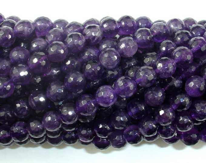 Amethyst, 6mm Faceted Round,15.5 Inch, Full strand, Approx 64 beads, Hole 1mm, A quality (115025001)