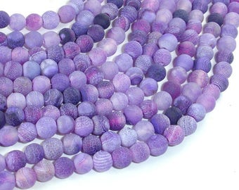 Frosted Matte Agate - Purple, 6mm Round Beads, 15 Inch, Full strand, Approx 64 beads, Hole 1 mm (122054143)
