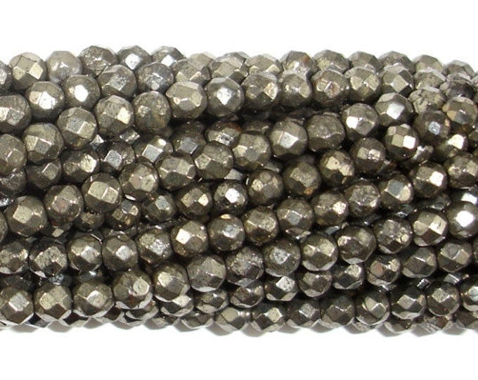 Pyrite Beads, 4mm Faceted Round, 16 Inch, Full strand, Approx 96 beads, Hole 0.8mm (361025005)